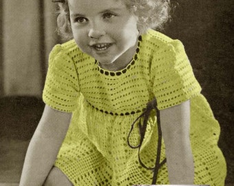 Crochet Dress Precious Pet Crochet Childs Girls Toddler Dress Pattern Size 2 and 4 Vintage 40s PDF Digital Download