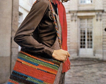 Crochet Purse Carryall Leftover Yarn Scrap Bag Crochet Pattern PDF Instant Download
