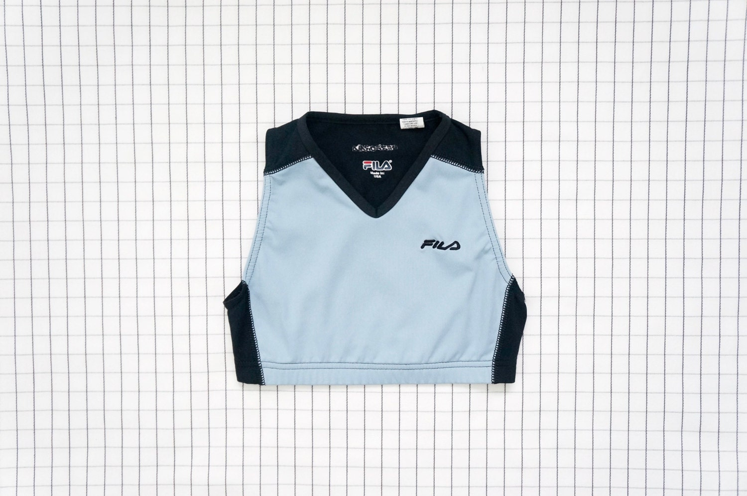 Aesthetic Vintage Clothing: 90's Crop Top FILA Aesthetic Bra Top Baby Blue Sports