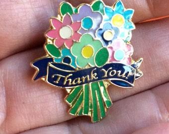 Flower Pin,Thanks Pin,Thanks Jewelry,Thank You Token,Appreciation Pin,Thanks Gift,Enamel Pin,Thank You Pin,Thank You Jewelry,Thank You Gift