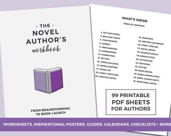 The Novel Author's Workbook - Book Planner - Worksheets for Authors - Brainstorming to Book Launch