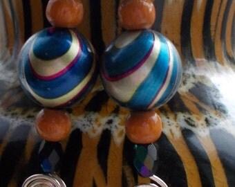 Folklore boho earrings funky blue mamoriert unique - RegenbogenART