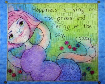 Original art quilt ~ Textile painting ~ Whimsical fabric art ~ HAPPINESS