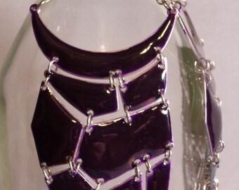 Dark Purple Enamel Long Earrings