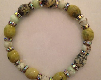 Semiprecious Stone and Swarovski Crystal Rondelles