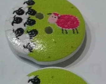 Sheep Buttons pack of 3
