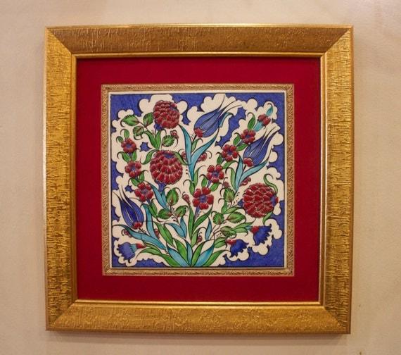 Floral Tile with Frame, Handmade Floral Design Ceramic Tile, Turkish Tile, Iznik Tile, Turkish Ceramic Tile, Relief Design Tile, Christmas