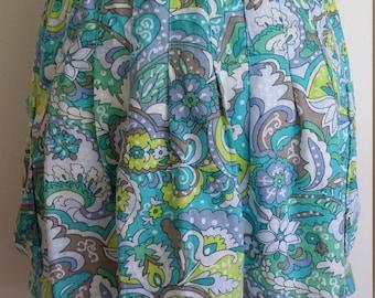 Psychedelic mini, M, L, paisley mini skirt, turquoise skirt, blue skirt, blue cotton skirt, paisley skirt, summer skirt