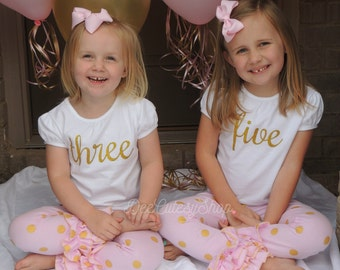 Gold Iron On, Non-Shed Glitter, Gold, one, two, three, four, five, six, seven, eight, DIY, Shirt Iron-On, Glitter, Birthday, Baby Girl