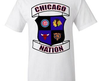 Chicago Cubs Bulls Blackhawks Bears, Chicago Nation Tee, Chicago Sports Shirt, Chicago Sports Tee, Chicago Sports Logos T-Shirt