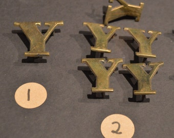 Vintage Solid Brass and Nickel Harness Letters - Y