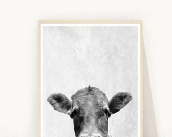 Cow Print, Cow Photo, Printable Art, Cow Art, Farm Animals, Black And White cow, Art Print, Textured, Wall Decor, Wall Art, Instant Download