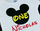 Mickey Mouse 1st w/ one in Yellow Birthday Onesie