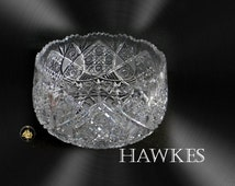 Hawkes Gravic clear crystal LARGE bowl with sawtooth rim