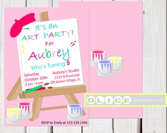 Girl Art Party Invitation, Girl Painting Birthday Party, Girl Art Paint Party Invitation, kids art painting party, arts and crafts party.