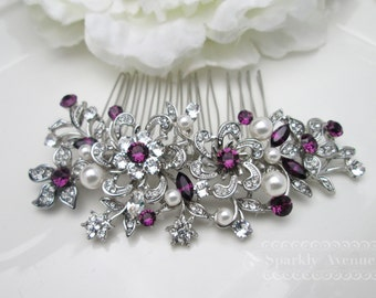 Wedding Bridal Hair Comb Amethyst Bridal Hair Comb Flower Hair Accessory Leaf Hair Clip Vintage Hair Comb Purple Crystal Swarovski Dahlia