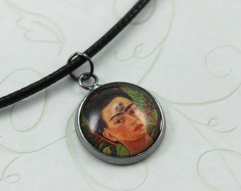 Thinking About Death by Frida Kahlo Necklace, Frida Kahlo Pendant, Frida Kahlo Self Portrait, Mexican Art Jewelry, Abstract Art Pendant