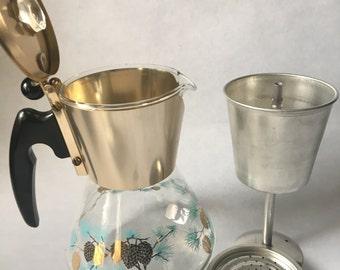 Vintage DAVID DOUGLAS Flameproof Percolator Coffee Pot, Circa 1950s