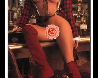 "Mature Playboy February 1992 : Playmate Centerfold Tanya Michelle Beyer Gatefold 3 Page Bar Pub Spread Photo Wall Art Decor 11"" x 23"""