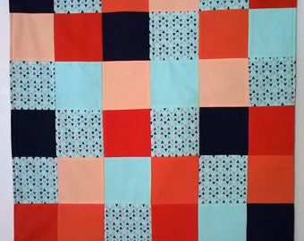 Navy and Orange Triangles Baby Quilt