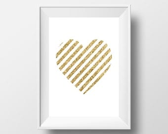 Printable gold heart, stripes gold glitter, nursery printable art, glitter heart nursery art INSTANT DOWNLOAD, Home Decor Art