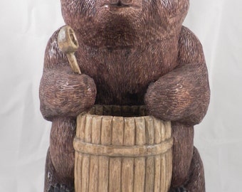 Bear with a barrel, artistic wood carving, carved sculpture, handmade, wooden sculpture