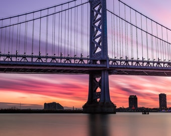 Ben Franklin Bridge Sunset Philadelphia Wall Art Philadelphia print art, Philadelphia Skyline poster Philadelphia canvas gift