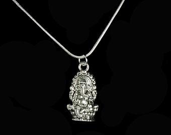 Ganesha Necklace on 925 Sterling Snake Chain, Choose Length, Tibetan Silver Ganesh Pendant, Gift Boxed, Free USA Same day Shipping