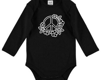 Peace & Flowers Baby Bodysuit