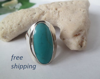 Sterling silver turquoise ring, large boho, gypsie ring