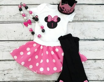 Pink Minnie Mouse Birthday Outfit - First birthday - mini glitter crown - 1'st birthday outfit
