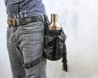 YokoKoshi Leather Pocket Water Bottle Holder Leg Holster Hip Bag