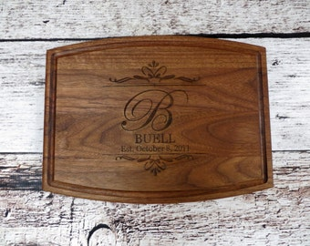 Personalized Cutting Board with Date - Walnut - House Warming -Custom Wedding Gift - Unique Gift