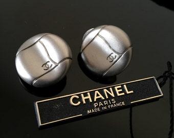 Chanel silver earrings CC , Chanel clip on earrings, Authentic vintage Chanel earrings, Chanel statement earrings