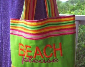 Beach Please Tote Bag Embroidered