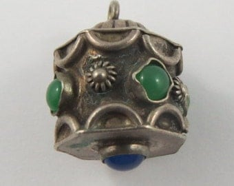 Fob With Green and Blue Stones Silver Vintage Charm For Bracelet