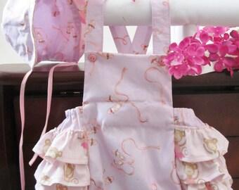 Lavender, Pink, Ballet Monkey Print Ruffled Bottom Romper Size 0-3 months 100% Cotton