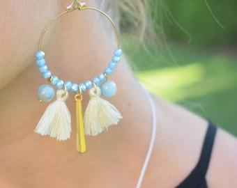Baby Blue Hoop Earrings / Bohemian Hoop Earrings / Tassel Hoop Earrings / Beaded Earrings / Christmas Gift For Her/ Stocking Stuffers