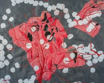 Fibre art/textile art, wall hanging - Bulbus olfactorium (variation)