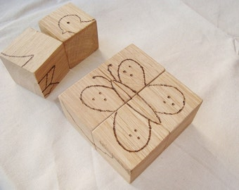 Wood puzzle blocks (6pcs). Wooden blocks. Wood building blocks. Wood blocks