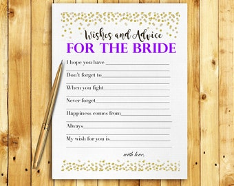 Bridal Shower Game Download - Advice & Wishes for the Bride - PURPLE and GOLD Glitter - Instant Printable Digital Download - diy Printables