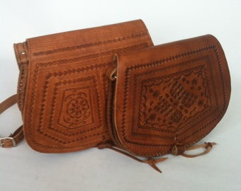 Moroccan Handcrafted Camel Brown leather Saddle Bag MEDIUM
