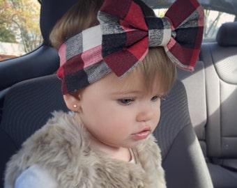 Buffalo Plaid Fabric Bow Headwrap, Girl's Headband, Sizes NB-Adult, Fabric Turban, Newborn Bow, Fall Plaid, Head Wrap, Baby Bow, Infant Bow
