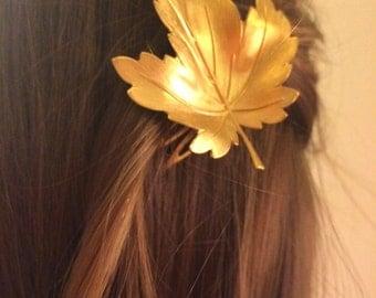 Gold Maple Leaf Hair Comb Maple Leaf Hair Pin Woodland Hair Accessory Bridal Hair Comb Leaf Hair Accessory Woodland Hair Comb