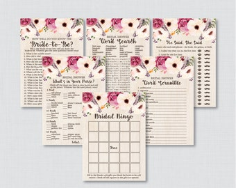 Boho Bridal Shower Games Package with Six Games- Printable Bohemian Shower Games - He Said She Said, Bingo, etc - Feathers Flowers 0006