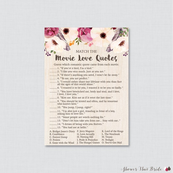 Movie love quote match game printable boho bridal shower movie love quote match game printable boho bridal shower movie quote game bohemian bridal shower game with flowers and feathers 0006 stopboris Choice Image