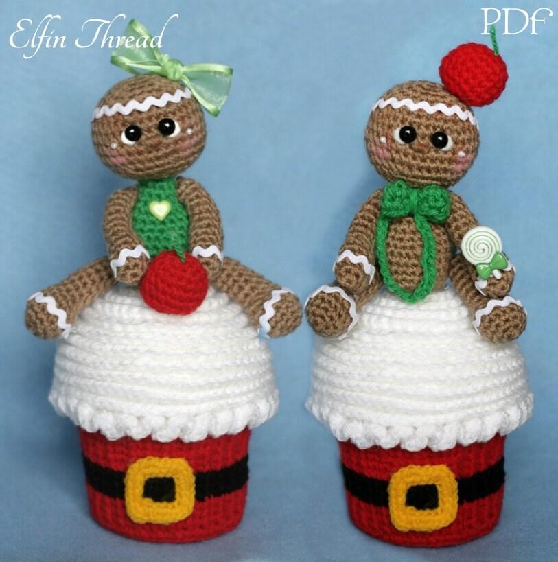 Elfin Thread Giant Christmas Cupcake With Gingerbread Man