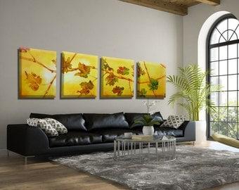 Canvas wall Art, Extra Large Wall Art, Modern Wall Art, Modern Painting Leaf Art, Extra Large Painting, 4 Piece Wall Art canvas