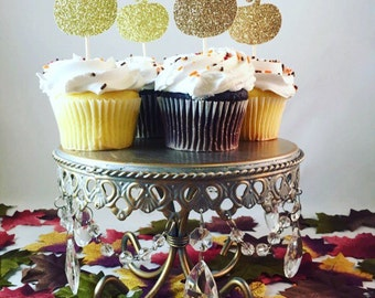 Pumpkin Glitter Cupcake Toppers, Fall Cupcake Toppers, Thanksgiving Cupcake Toppers, Glitter Cupcake Toppers- Set of 12, Various Colors