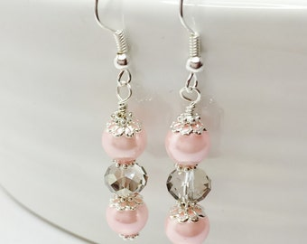 Pink Pearl Earrings Crystal Bridesmaid Gift Pink Wedding Party Gift Pink Silver Drops Pink Bridal Dangles Mother of the Bride Flower Girl